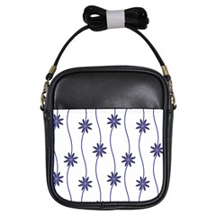 Geometric Flower Seamless Repeating Pattern With Curvy Lines Girls Sling Bags by Simbadda