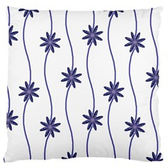 Geometric Flower Seamless Repeating Pattern With Curvy Lines Large Cushion Case (two Sides) by Simbadda