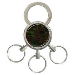 Circuit Board A Completely Seamless Background Design 3 Ring Key Chains by Simbadda