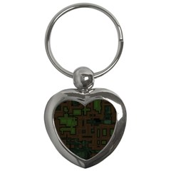 Circuit Board A Completely Seamless Background Design Key Chains (heart)  by Simbadda