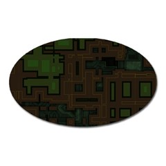 Circuit Board A Completely Seamless Background Design Oval Magnet by Simbadda