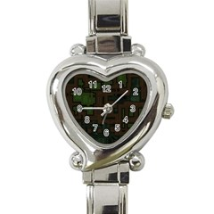 Circuit Board A Completely Seamless Background Design Heart Italian Charm Watch by Simbadda
