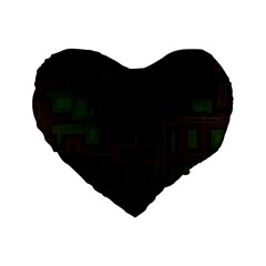Circuit Board A Completely Seamless Background Design Standard 16  Premium Flano Heart Shape Cushions by Simbadda