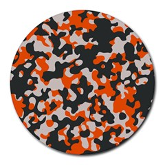 Camouflage Texture Patterns Round Mousepads by Simbadda