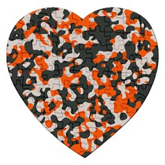 Camouflage Texture Patterns Jigsaw Puzzle (heart) by Simbadda