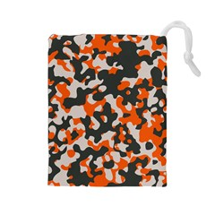 Camouflage Texture Patterns Drawstring Pouches (large)  by Simbadda