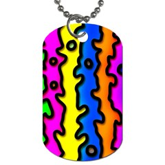 Digitally Created Abstract Squiggle Stripes Dog Tag (two Sides) by Simbadda