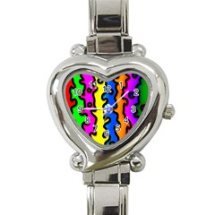 Digitally Created Abstract Squiggle Stripes Heart Italian Charm Watch by Simbadda