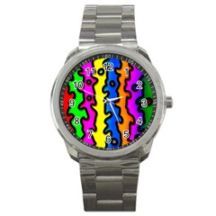Digitally Created Abstract Squiggle Stripes Sport Metal Watch by Simbadda