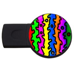 Digitally Created Abstract Squiggle Stripes Usb Flash Drive Round (4 Gb) by Simbadda