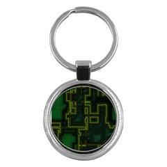 A Completely Seamless Background Design Circuit Board Key Chains (Round)  by Simbadda