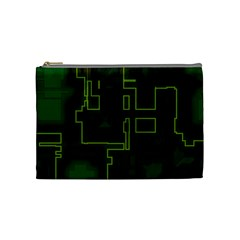 A Completely Seamless Background Design Circuit Board Cosmetic Bag (medium)  by Simbadda