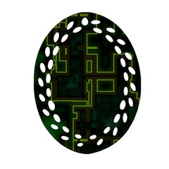 A Completely Seamless Background Design Circuit Board Oval Filigree Ornament (two Sides) by Simbadda