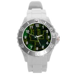 A Completely Seamless Background Design Circuit Board Round Plastic Sport Watch (l) by Simbadda