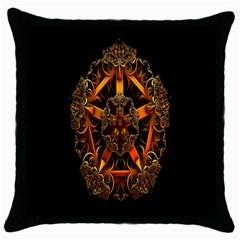 3d Fractal Jewel Gold Images Throw Pillow Case (black) by Simbadda