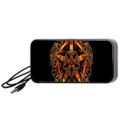 3d Fractal Jewel Gold Images Portable Speaker (black) by Simbadda