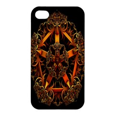 3d Fractal Jewel Gold Images Apple Iphone 4/4s Hardshell Case by Simbadda
