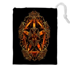 3d Fractal Jewel Gold Images Drawstring Pouches (xxl) by Simbadda