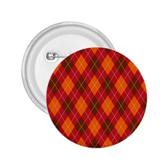 Argyle Pattern Background Wallpaper In Brown Orange And Red 2 25  Buttons by Simbadda
