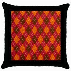 Argyle Pattern Background Wallpaper In Brown Orange And Red Throw Pillow Case (black) by Simbadda