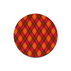 Argyle Pattern Background Wallpaper In Brown Orange And Red Rubber Round Coaster (4 Pack)  by Simbadda