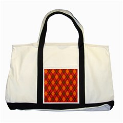 Argyle Pattern Background Wallpaper In Brown Orange And Red Two Tone Tote Bag by Simbadda