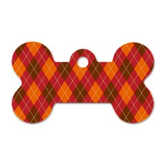 Argyle Pattern Background Wallpaper In Brown Orange And Red Dog Tag Bone (two Sides) by Simbadda