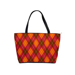 Argyle Pattern Background Wallpaper In Brown Orange And Red Shoulder Handbags by Simbadda