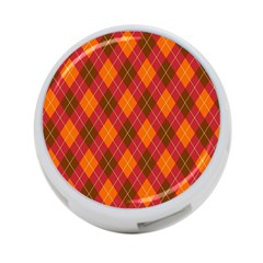 Argyle Pattern Background Wallpaper In Brown Orange And Red 4 Port Usb Hub (one Side) by Simbadda