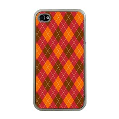 Argyle Pattern Background Wallpaper In Brown Orange And Red Apple Iphone 4 Case (clear) by Simbadda