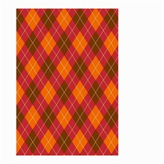 Argyle Pattern Background Wallpaper In Brown Orange And Red Small Garden Flag (two Sides) by Simbadda