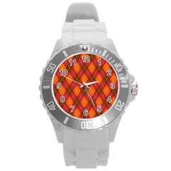 Argyle Pattern Background Wallpaper In Brown Orange And Red Round Plastic Sport Watch (l) by Simbadda