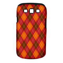 Argyle Pattern Background Wallpaper In Brown Orange And Red Samsung Galaxy S Iii Classic Hardshell Case (pc+silicone) by Simbadda