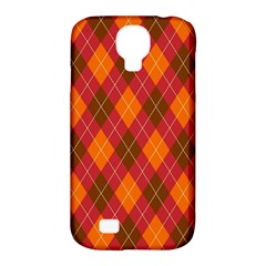 Argyle Pattern Background Wallpaper In Brown Orange And Red Samsung Galaxy S4 Classic Hardshell Case (pc+silicone) by Simbadda