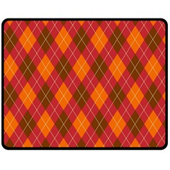 Argyle Pattern Background Wallpaper In Brown Orange And Red Double Sided Fleece Blanket (medium)  by Simbadda