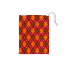 Argyle Pattern Background Wallpaper In Brown Orange And Red Drawstring Pouches (small)  by Simbadda