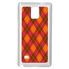 Argyle Pattern Background Wallpaper In Brown Orange And Red Samsung Galaxy Note 4 Case (white) by Simbadda