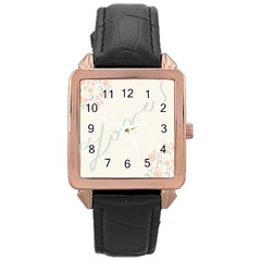 Love Card Flowers Rose Gold Leather Watch  by Simbadda