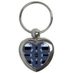 A Completely Seamless Tile Able Techy Circuit Background Key Chains (heart)  by Simbadda
