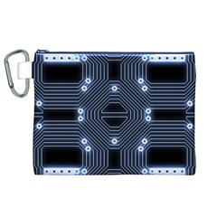 A Completely Seamless Tile Able Techy Circuit Background Canvas Cosmetic Bag (xl) by Simbadda