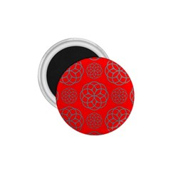 Geometric Circles Seamless Pattern On Red Background 1 75  Magnets by Simbadda