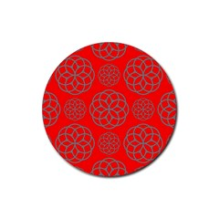 Geometric Circles Seamless Pattern On Red Background Rubber Round Coaster (4 Pack)  by Simbadda