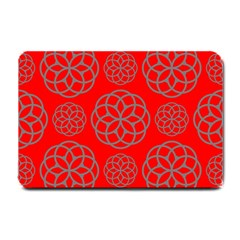 Geometric Circles Seamless Pattern On Red Background Small Doormat  by Simbadda