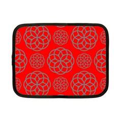 Geometric Circles Seamless Pattern On Red Background Netbook Case (small)  by Simbadda
