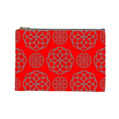 Geometric Circles Seamless Pattern On Red Background Cosmetic Bag (large)  by Simbadda