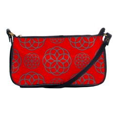 Geometric Circles Seamless Pattern On Red Background Shoulder Clutch Bags by Simbadda