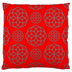 Geometric Circles Seamless Pattern On Red Background Large Cushion Case (one Side) by Simbadda