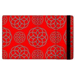 Geometric Circles Seamless Pattern On Red Background Apple Ipad 2 Flip Case by Simbadda