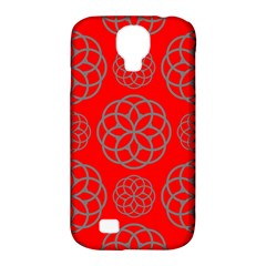 Geometric Circles Seamless Pattern On Red Background Samsung Galaxy S4 Classic Hardshell Case (pc+silicone) by Simbadda