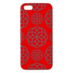 Geometric Circles Seamless Pattern On Red Background Iphone 5s/ Se Premium Hardshell Case by Simbadda